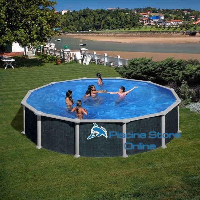piscina fuoriterra rattan tonda diametro 5 5 m altezza mt On piscina 5 metros diametro