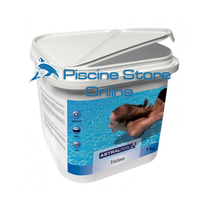 cloro piscina - Tricloro in pastiglie astral 250 g. Da 1 kg per il trattamemto dell'acqua - cloro per piscine
