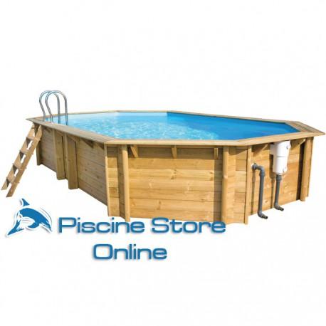 Piscina fuori terra in legno ottagonale weva 6 40 x 4 00 m for Piscine one line