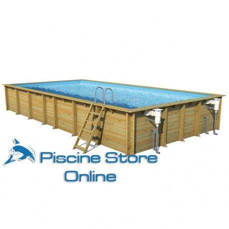 Piscina fuori terra in legno rettangolare weva 12 50 x 4 - Aspirafango per piscina ...
