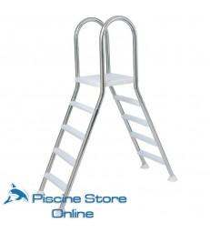 Scala doppia a ponte in acciaio con 4 gradini per piscina fuori terra
