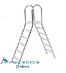 Scala doppia a ponte in acciaio con 5 gradini per piscina fuori terra