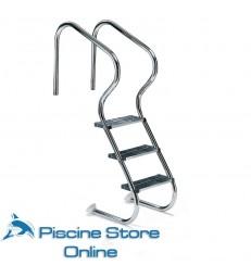 Scala per piscina accesso facile in acciao aisi 316 con 3 gradini di sicurezza