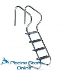 Scala per piscina accesso facile in acciao aisi 316 con 4 gradini di sicurezza