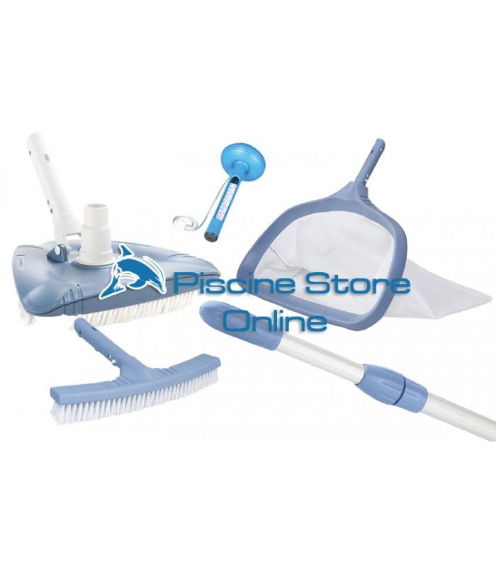 Kit pulizia piscine K2 aspirafango triangolare + retino e spazzola per parete