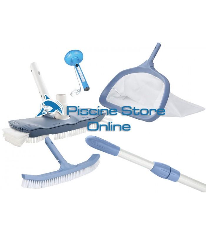 Kit pulizia piscine K4 aspirafango ovale + retino e spazzola di fondo