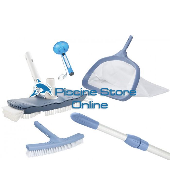 Kit pulizia piscine K5 aspirafango ovale + retino e spazzola per parete