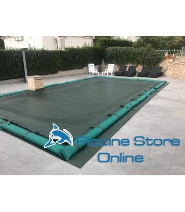 copertura invernale piscina impermeabile con salamotti perimetrali