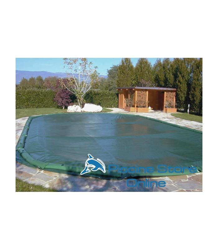 Copertura invernale piscina ovale impermeabile COVER UP 210 GR con salamotti
