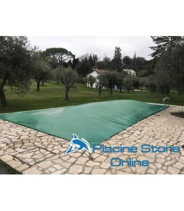 Copertura invernale piscina rettangolare impermeabile COVER UP 210 GR con occhielli e tiranti