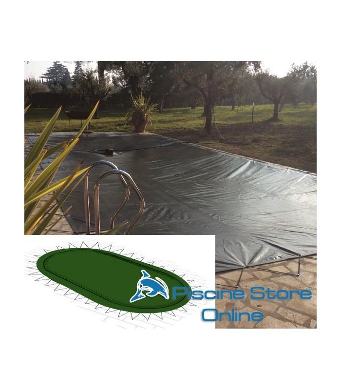 Copertura invernale piscina ovale impermeabile COVER UP 210 GR con occhielli e tiranti