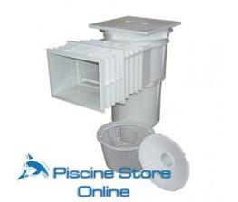 Skimmer piscina ASTRAL bocca standard e prolunga coperchio quadrato piscine in cemento armato