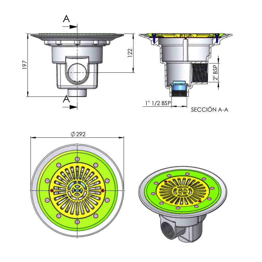 dimensioni scarico di fondo diametro 290mm 0027