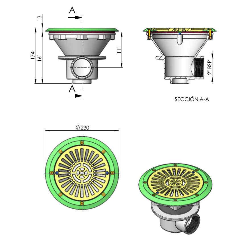 scarico di fondo diametro 210 mm 00271