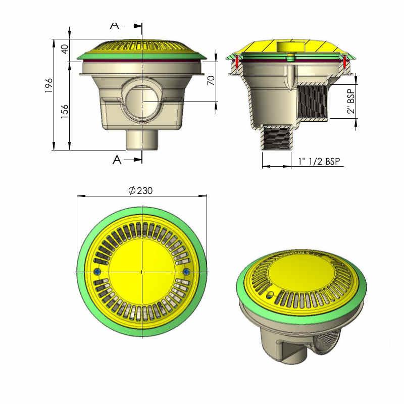 scarico di fondo diametro 200 mm con griglia antivortice 27125