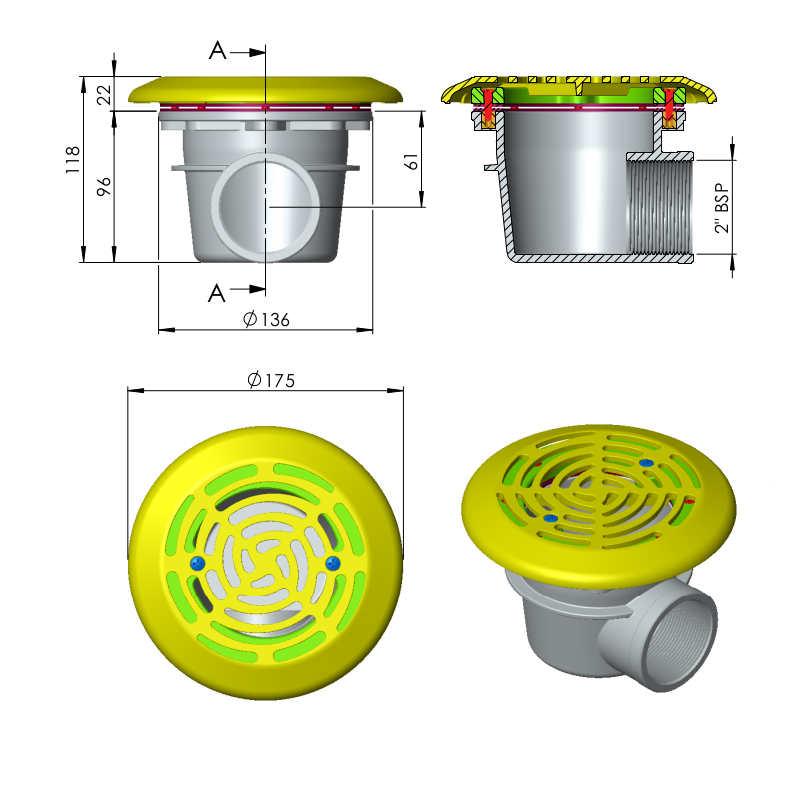 diemensioni scarico di fondo mini per piscine liner prefabbricate