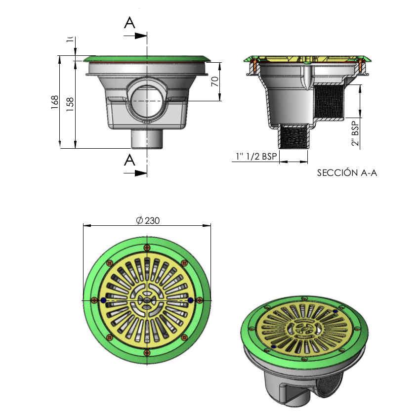 scarico fondo circolare 200 mm griglia piatta 27838