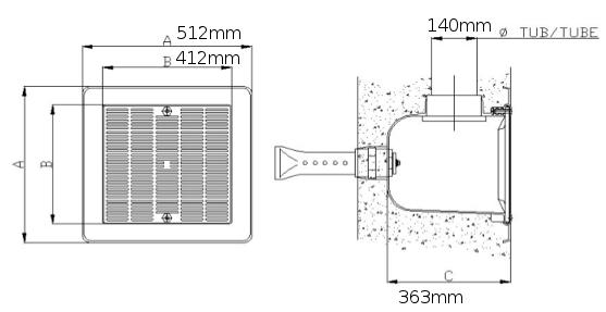 dimensioni scarico in poliestere 512x512mm