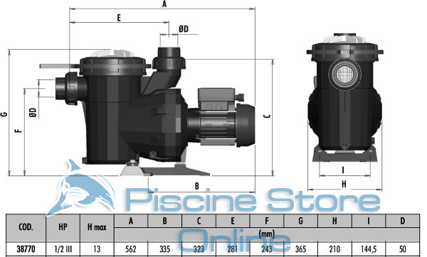 pompa piscina astral victoria 0,50 hp 11 m3/h