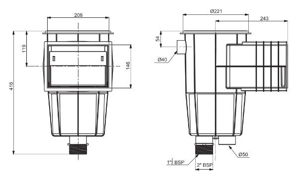 skimmer con bocca standard 00250