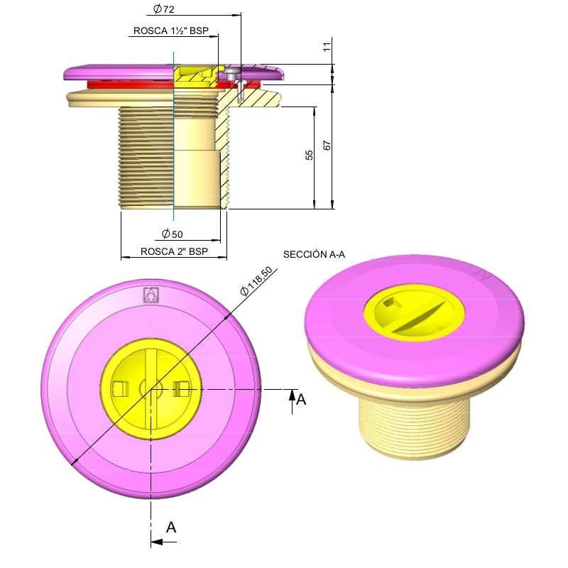 Dimensioni bocchetta aspirafango per piscina prefabbricata