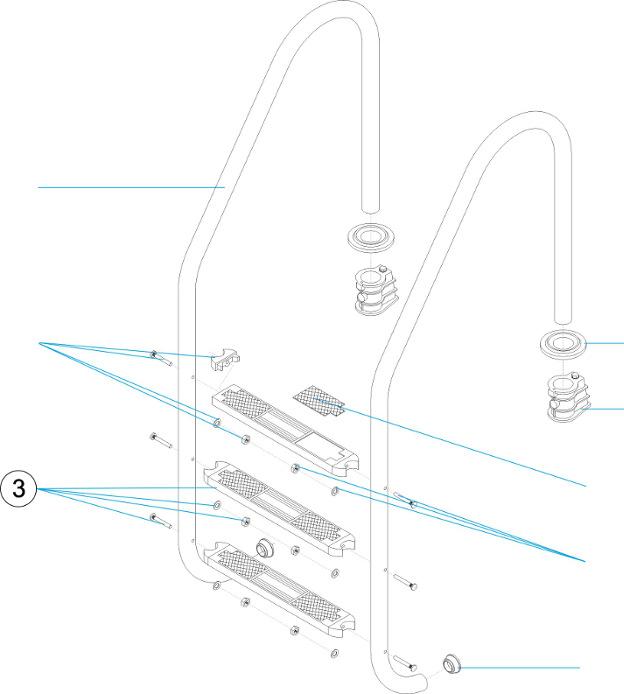gradino completo scala piscina aisi 316 con tubolare 43