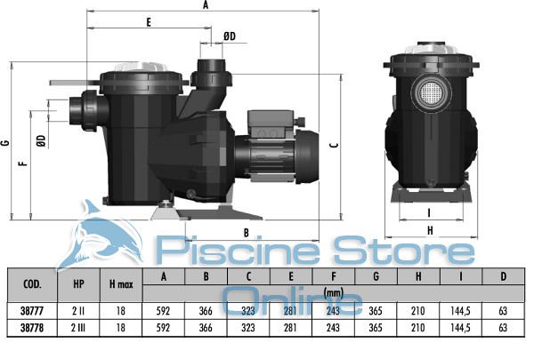 pompa piscina astral victoria 2 hp 32 m3/h