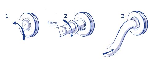 immissione tubo pulizia in bocchetta
