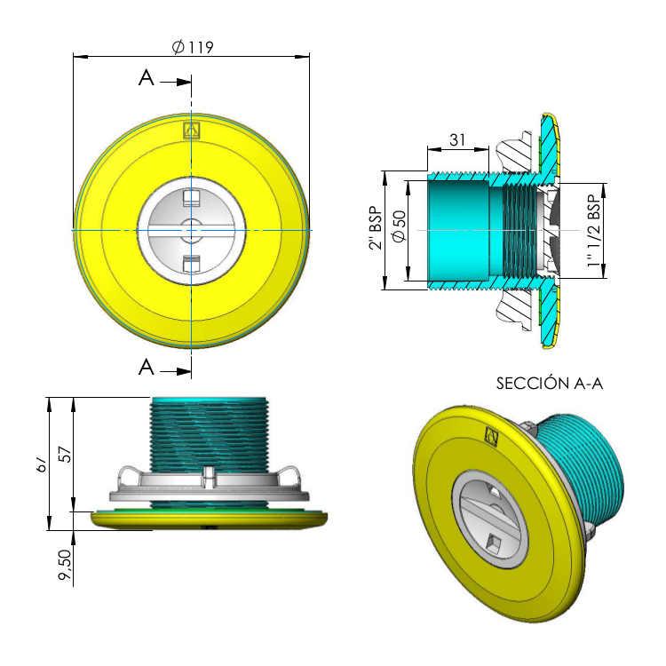 Dimensioni bocchetta 00336