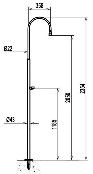 doccia piscina standard in acciaio 304 con rubinetto lavapiedi