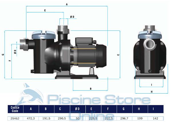pompa piscina astral sena hp 1/2 9,6 m/h