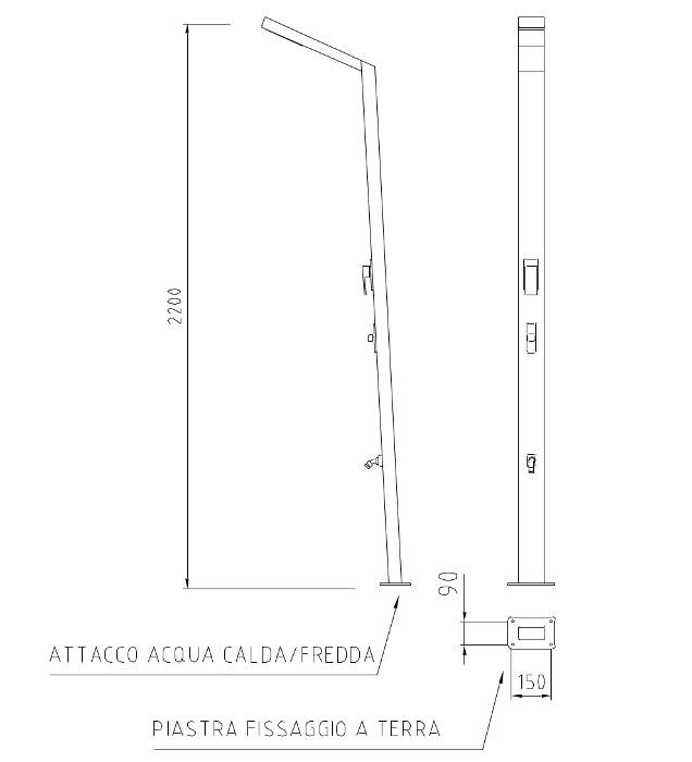 VENDITA DOCCE DA ESTERNO IN ACCIAIO INOX 316